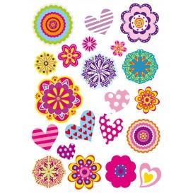 gommettes fleurs psychédéliques 42 pièces