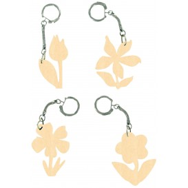 4 porte clés en bois fleurs 7cm