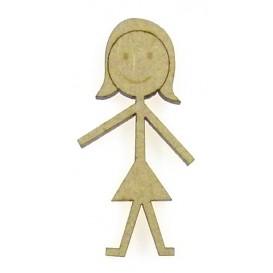 sujet en bois fille dessin aux traits