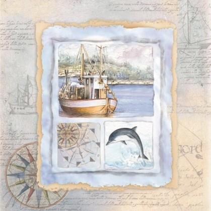 20 serviettes en papier carte maritime 33x33cm