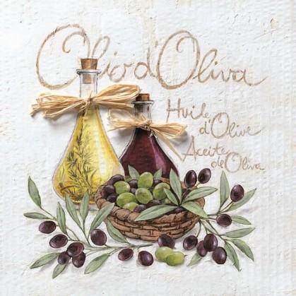 20 serviettes en papier huile d'olive 33x33cm
