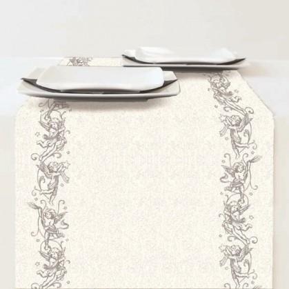 chemin de table en papier no l ange argent 33x600cm. Black Bedroom Furniture Sets. Home Design Ideas