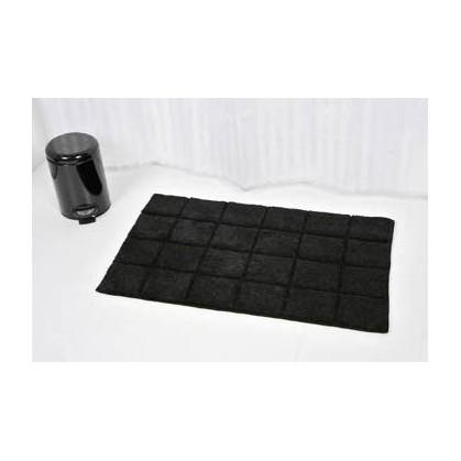tapis de bain coton 50x80cm carr noir. Black Bedroom Furniture Sets. Home Design Ideas