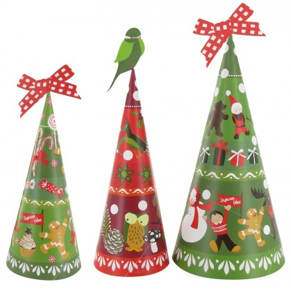 3 sapins en papier à customiser