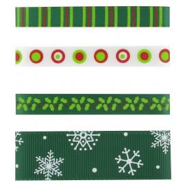 4 rubans motifs noël vert
