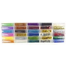 30 tubes paillettes diamantines assortis