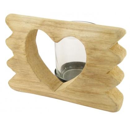 bougeoir en bois flott d coupe coeur 12x8x8cm. Black Bedroom Furniture Sets. Home Design Ideas