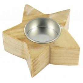 bougeoir en bois étoile 9,5cm